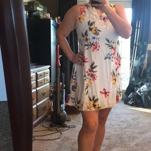 Old Navy floral white double lined dress
